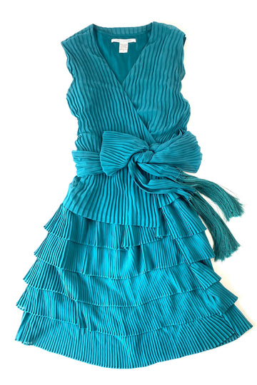 Diane Von Furstenberg Pleated Jade Faux Wrap Sash Dress | 6