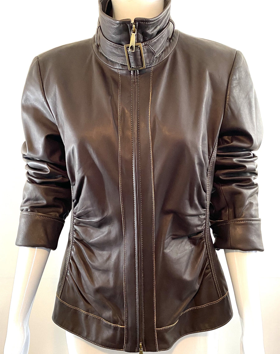 Lafayette 148 Coffee Ruched Leather Jacket | US 8