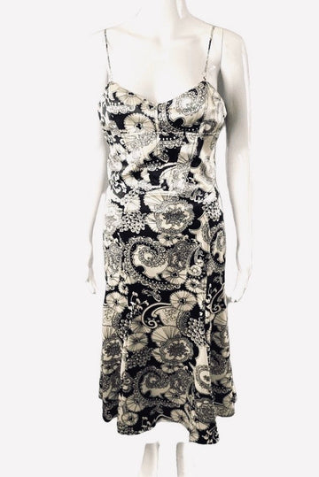 David Meister Black Ivory Paisley Print Fit and Flare Dress | 4/6
