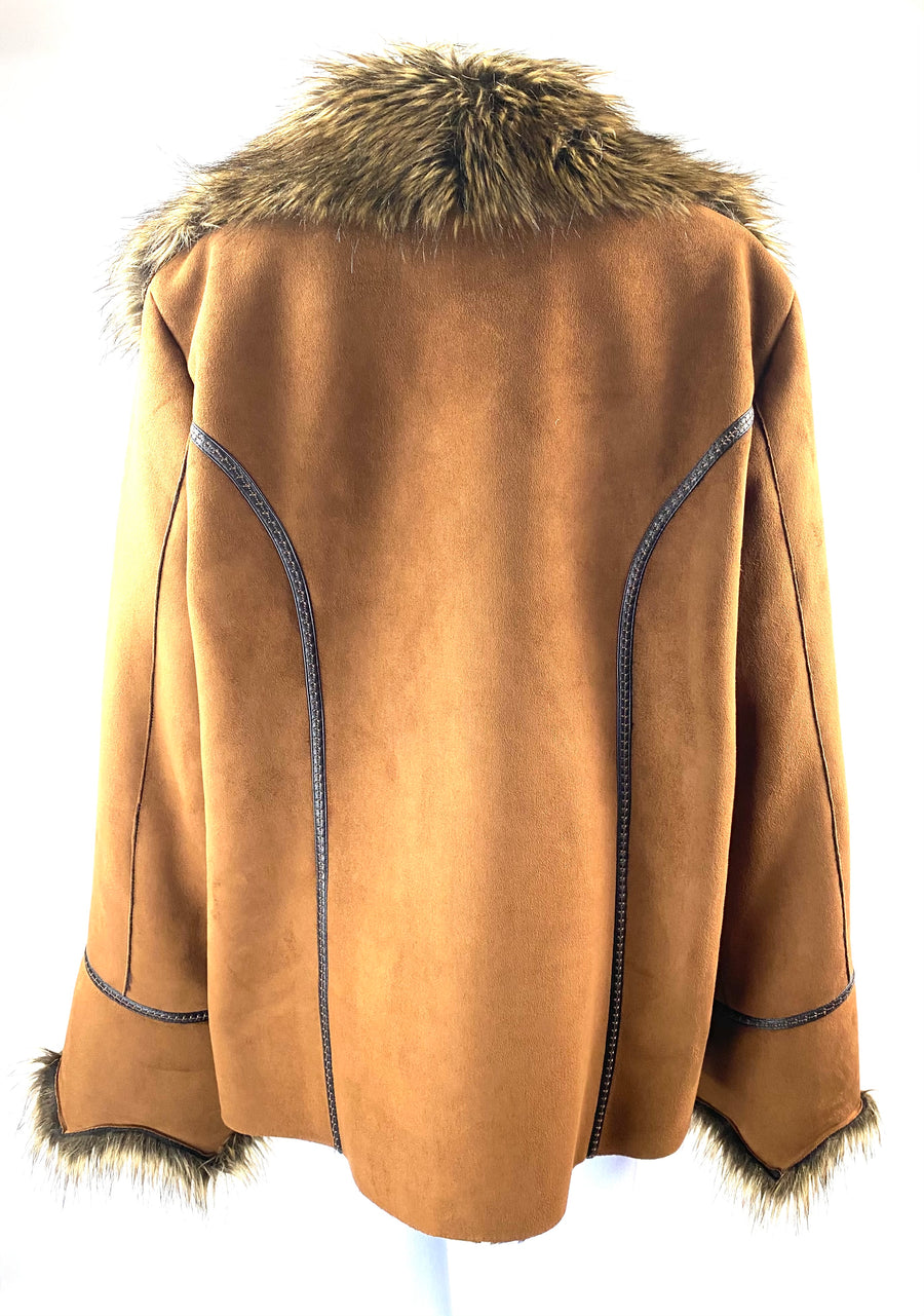 Donna Salyers Fabulous Furs Faux Suede and Fur Coat | XL | NEW