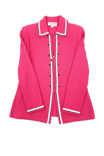 St John Collection Santana Knit Bright Pink Jacket | 6