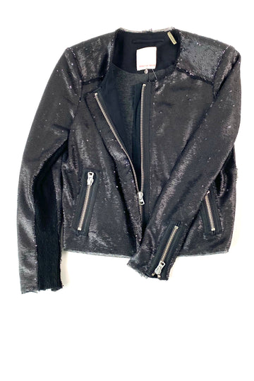 Rebecca Taylor Black Sequin Moto Jacket | 4 | NEW