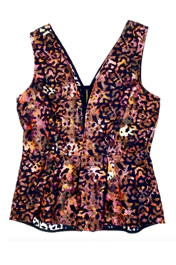 Weston Animal Print Reversible Peblum Waist Corset Top | XS | NEW