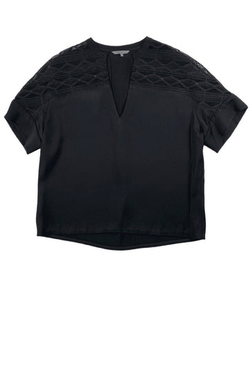 Maiyet Black Sheer Panel V Neck Blouse Top | 36