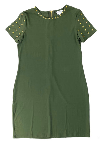 Carmen Marc Valvo Studded Olive Dress | M