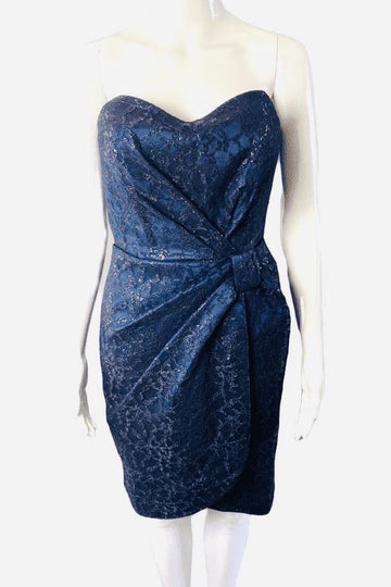 David Meister Black Lace Midnight Blue Strapless Dress | 8