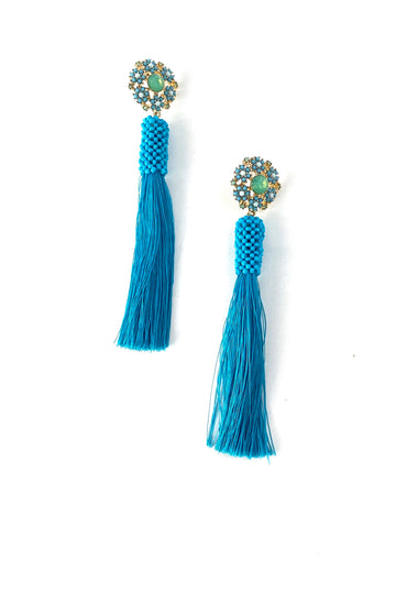 Turquoise blue tassel earrings