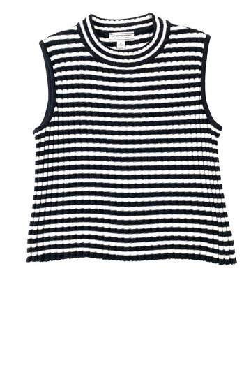 St John Black White Stripe Ribbed Sleeveless Top | S