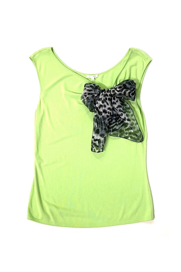 Escada Chartreuse Green Knit Top with Leopard Bow | 40