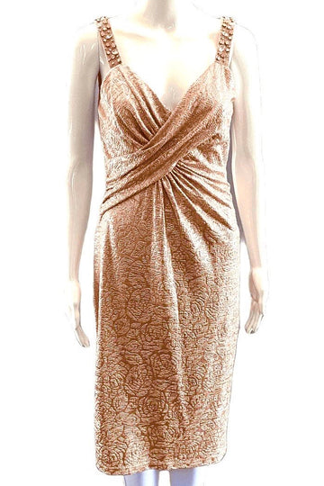 David Meister Metallic Cocktail Dress with Beading | 4/6