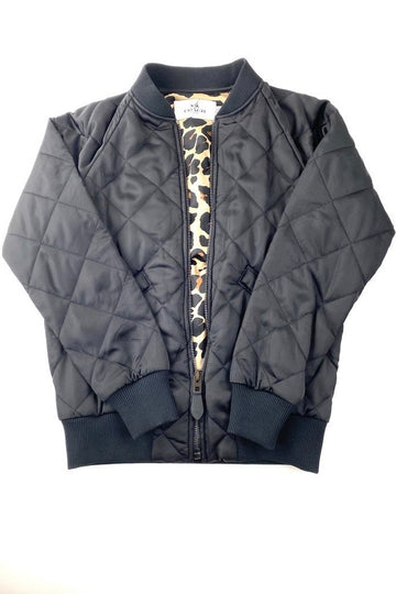 Coach Black Quilted Bomber Jacket Leopard Lining | XXS | NEW