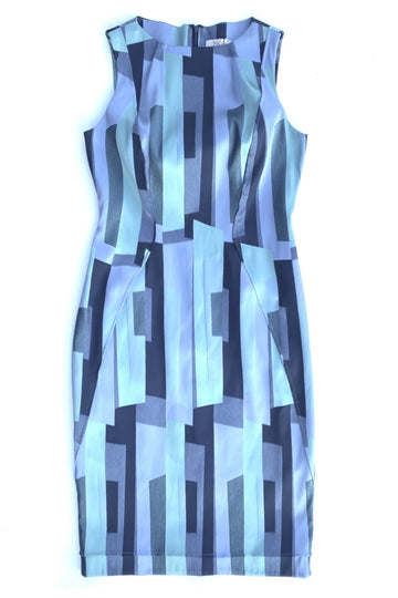 Lela Rose Blue Hues Print Shift Midi Dress | 12