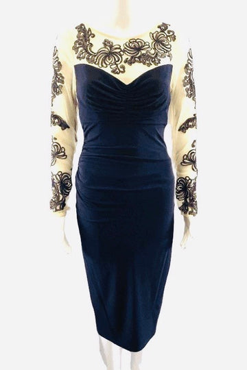David Meister Midnight Navy Dress with Sheer Lace Sleeves | 4