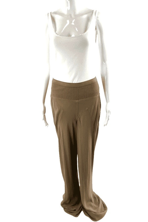 Rick Owens Brown Wide Leg Silk Pants | US 12