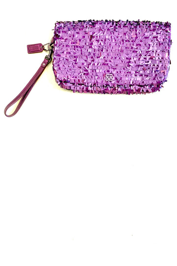 Coach Bordeaux Confetti Sequin Clutch