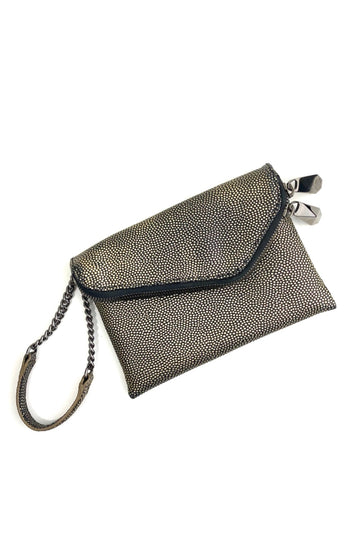 Henri Bendel Pebbled Bronze Debutante Clutch Wristlet