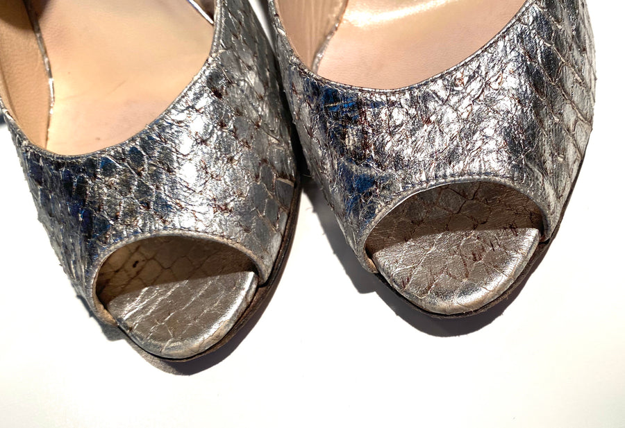 Jimmy Choo Distressed Silver Snakeskin Mary Janes with Mirror Heel | 40