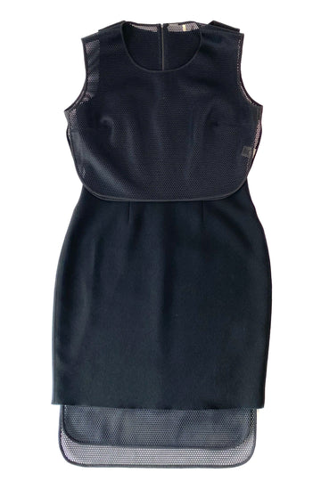 Elie Tahari Black Sheath Dress with Honeycomb Mesh Bolero | 8
