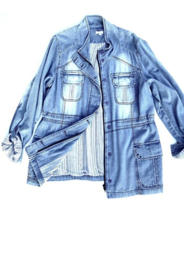 Kayla Seo Chambray Denim Jacket | L | NEW
