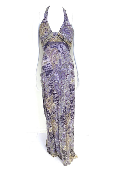 David Meister Silk Halter Maxi Dress | 6