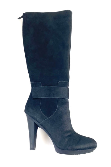 Tsubo Black Suede and Calf Hair Knee High Boots | 10 M