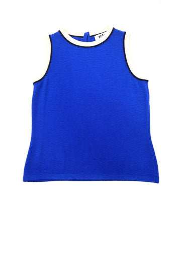 St. John Cobalt Blue Santana Knit Sleeveless Top | 10