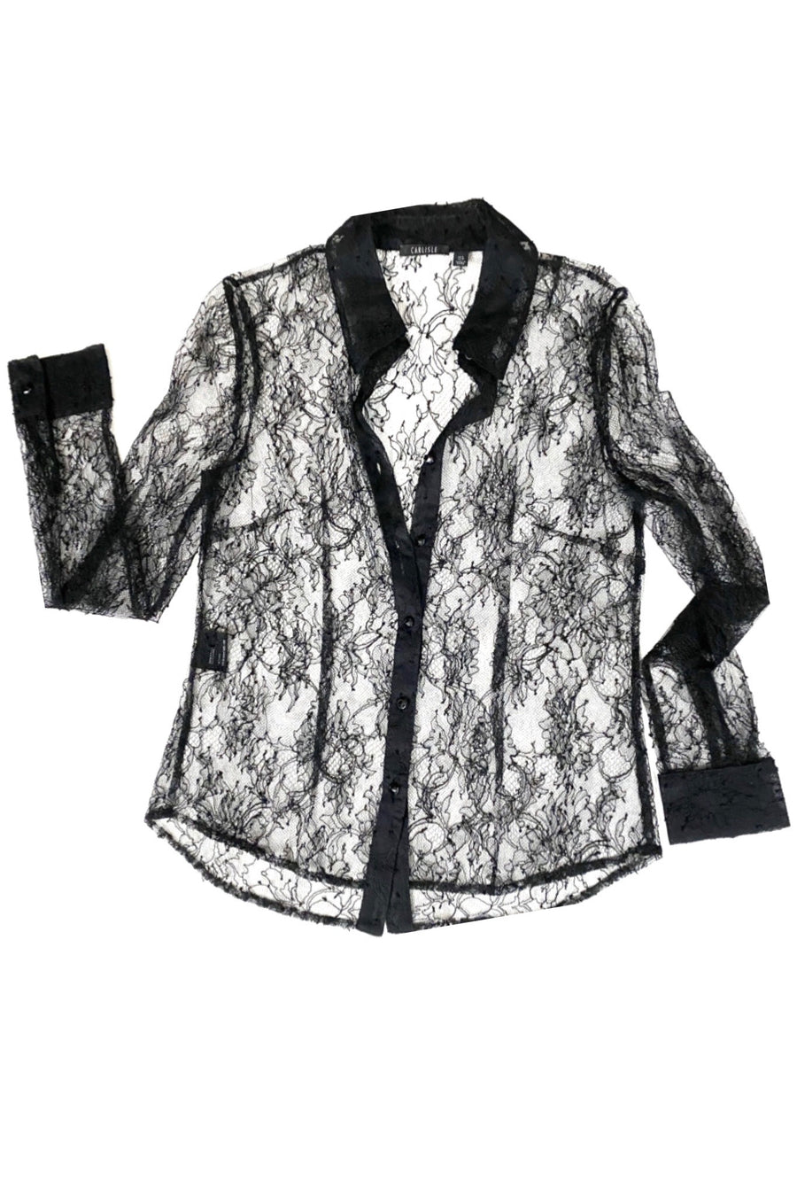 Carlisle Classic Pointed Collar Black Lace Blouse | 8