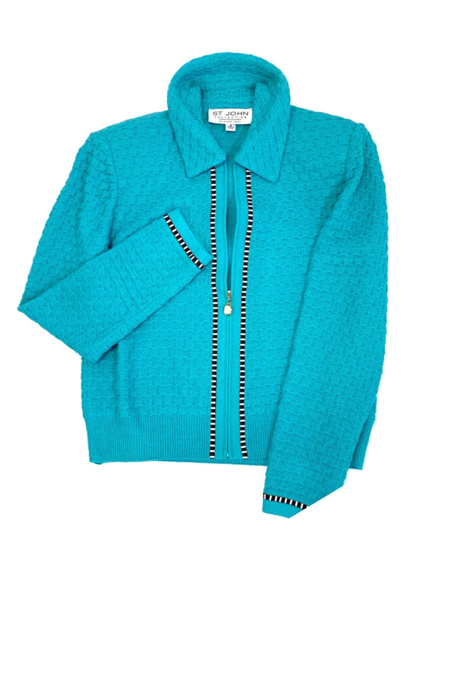 St John Collection Turquoise Zip Jacket | 6