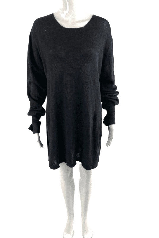 Rick Owens Inox Blend Black Pullover Knit Tunic | US XL