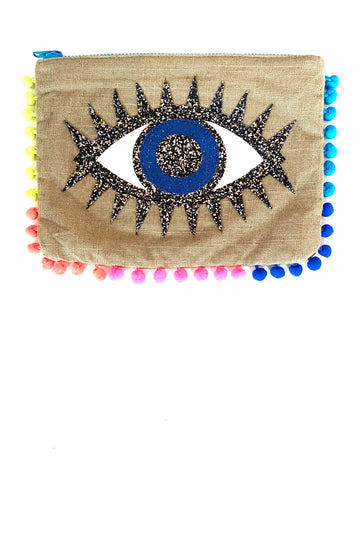 Eye of Protection Ocular Amulet Burlap Clutch with Neon Trim