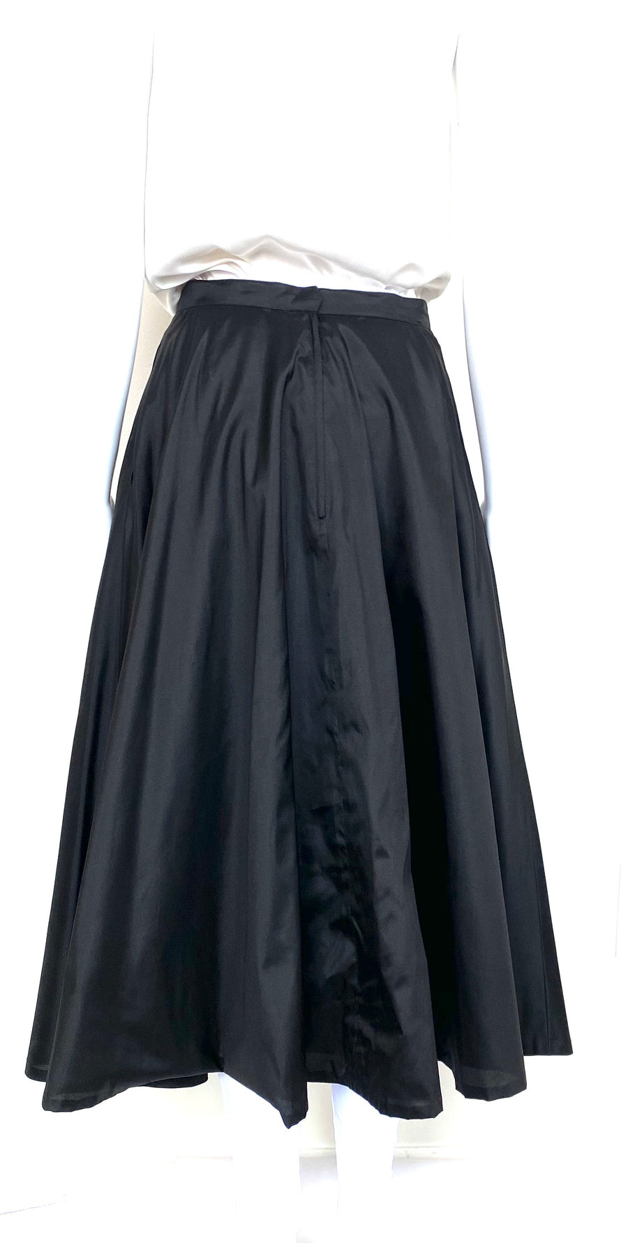 Marisa Baratelli Black Silk Full Midi Skirt | 6 | NEW