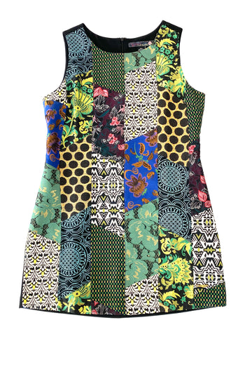 Desigual Mixed Media Patchwork Black Dress | 46