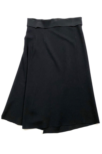 Donna Karan New York Black Foldover Waist Knit Skirt | M