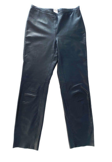 Vintage Agnona Black Leather Pants | 40