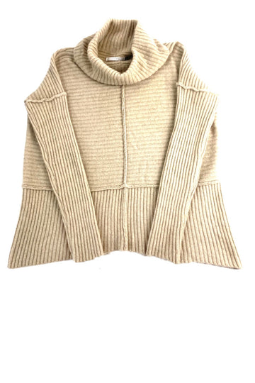Elaine Kim Light Brown Ribbed Cashmere Cowl Neck Sweater | L