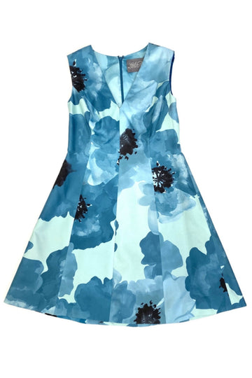 Lela Rose Blue and Black Silk Floral Print Fit + Flare Dress | 12
