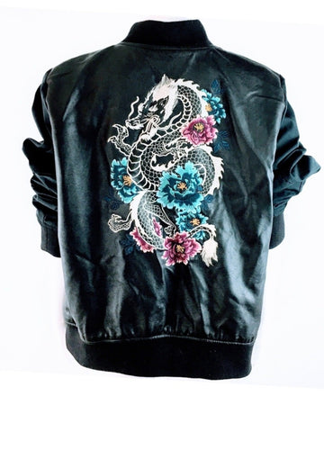Vegan Leather Dragon Embroidered Jacket | New | XXL
