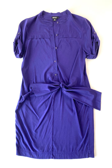 DKNY Violet Silk Faux Wrap Dress | S