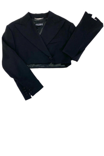 Dolce & Gabbana Black Cropped Double Breasted Blazer | IT 40 US 4/6