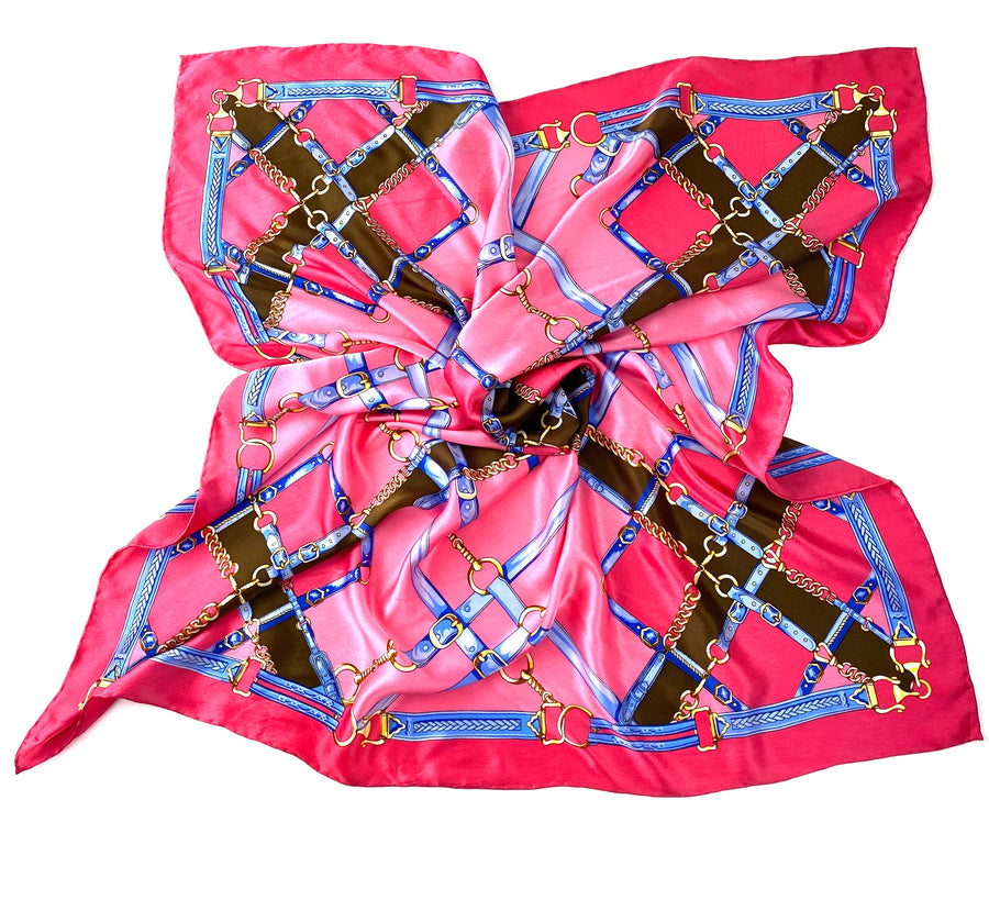 Pink Silk Scarf with Equestrian Details