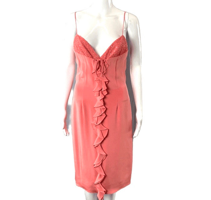 David Meister Coral Ruffle Lace Up Beaded Cocktail Dress | 4