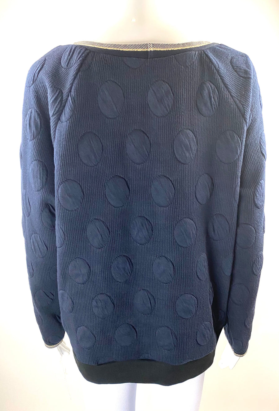 Weston Navy Textured Crewneck Sweatshirt with Metallic Accents | XL | NEW