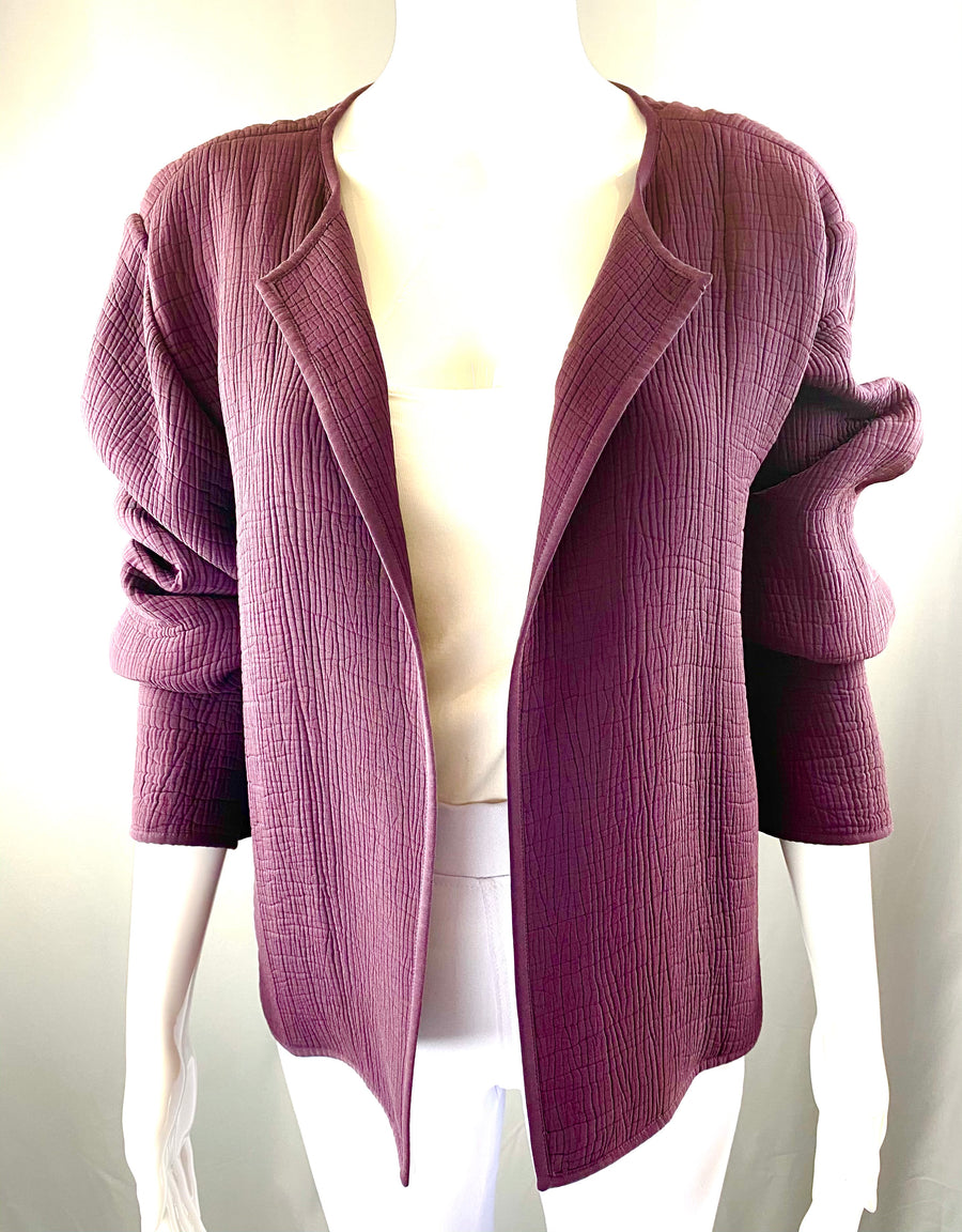 Eileen Fisher Deep Wine Open Front Blazer | L