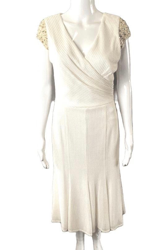 David Meister Ivory Beaded Cap Sleeve Fit & Flare Dress | 6
