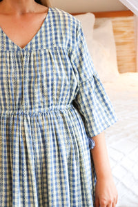 Ruth Blue Check Dress