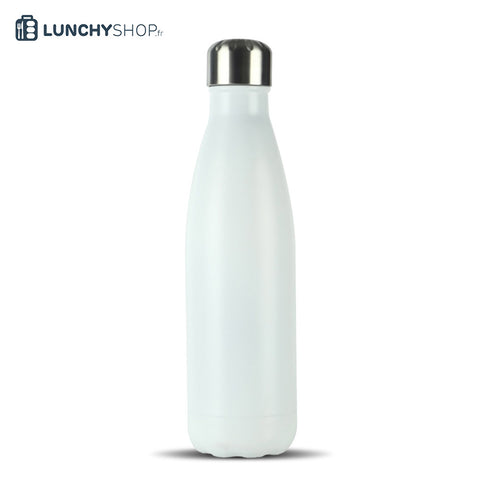 Bouteille Isotherme Gourde Inox blanche spray, logo lunchyshop