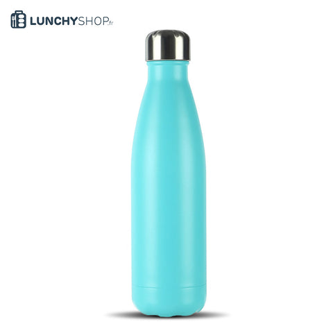 Bouteille Isotherme Gourde Inox bleu ciel spray, logo lunchyshop