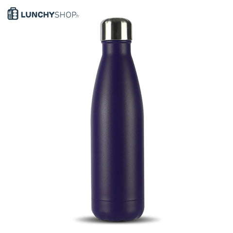 Bouteille Isotherme Gourde Inox bleu pourpre spray, logo lunchyshop