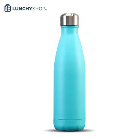 Bouteille Isotherme Gourde Inox Bleue Turquoise Satin, logo lunchyshop