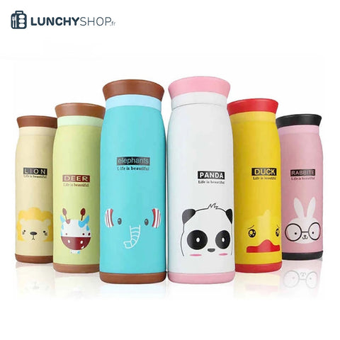 gourde enfant animaux cartoon lion, cerf, elephant, panda, canard, lapin , logo lunchyshop